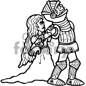 black and white knight with princess clipart. Royalty.