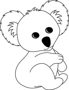 Koala Black And White Clipart.