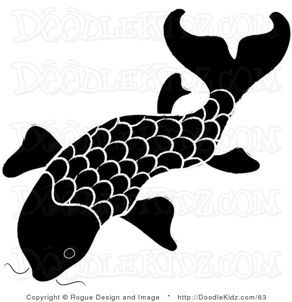 Clip Art Illustration of a Black and White Koi Fish Design.