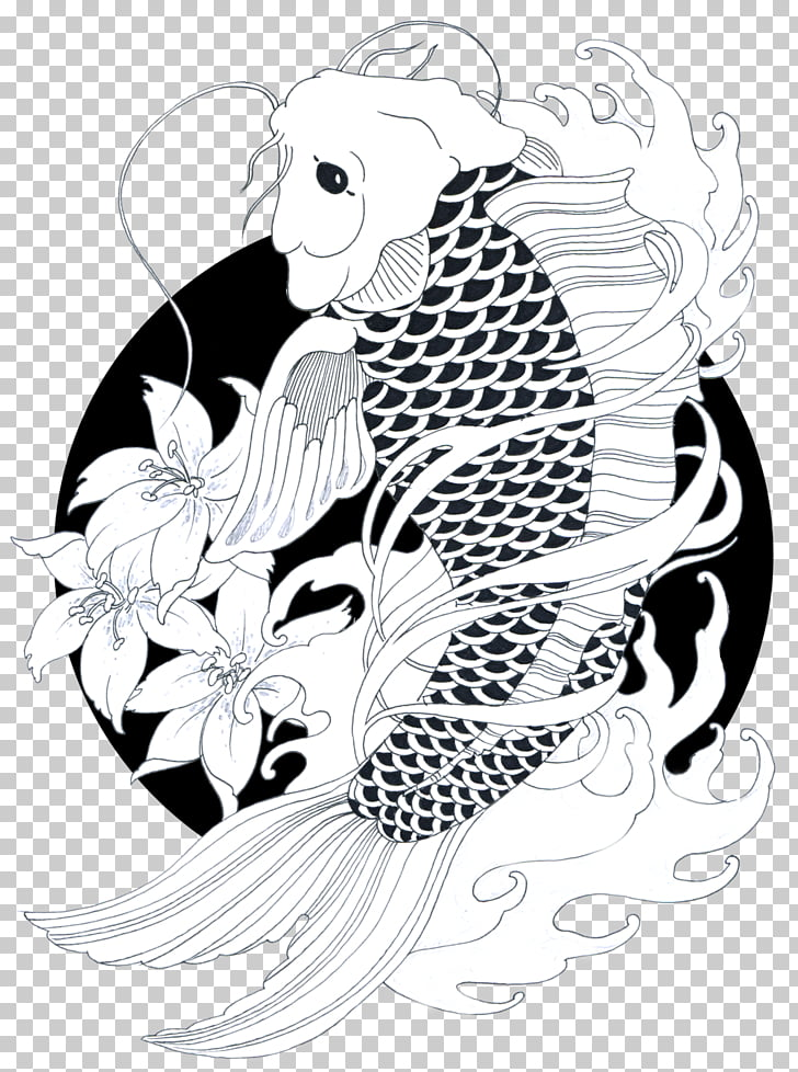 Koi Goldfish Drawing Carp Black and white, koi, Oriental koi.