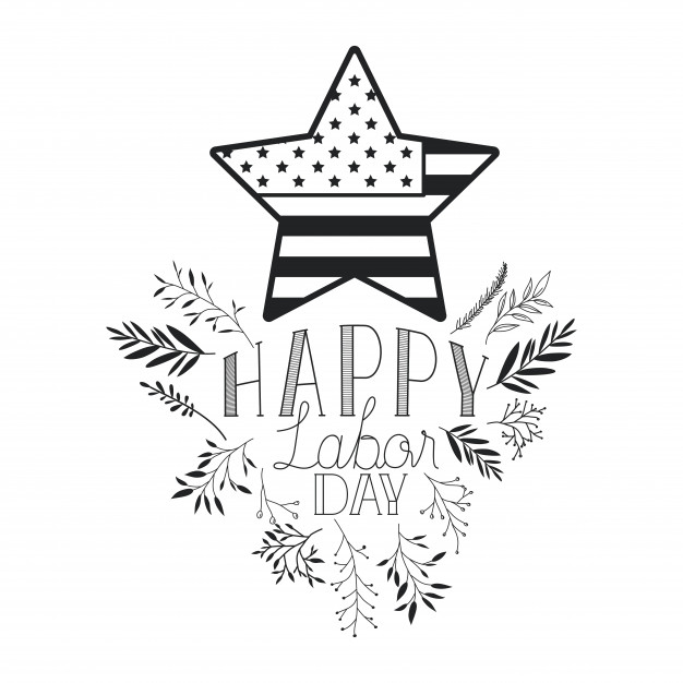Happy labor day label with leafs frame and star Vector.