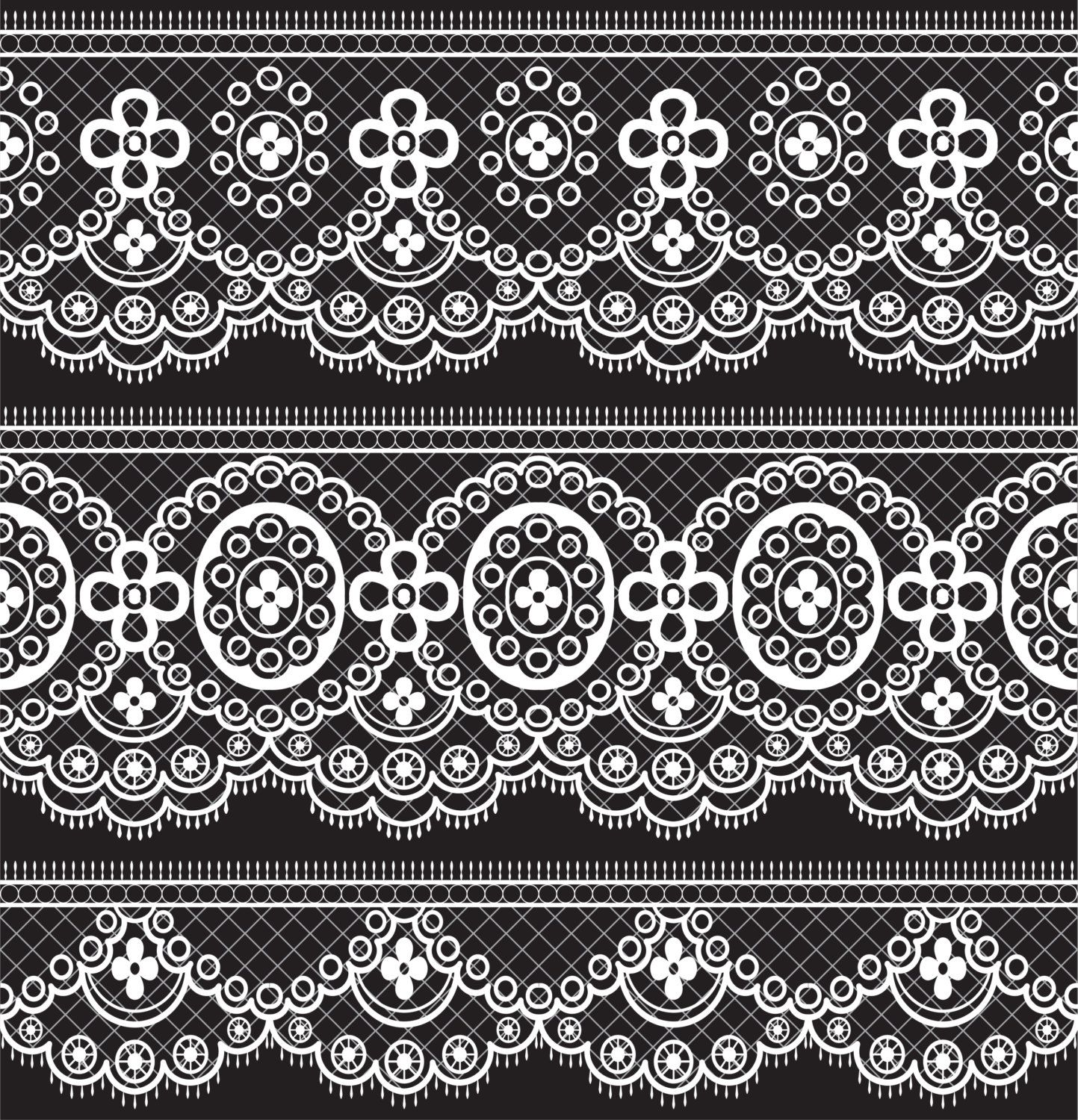 Lace Borders Clipart, White Lace Borders, Black Lace.