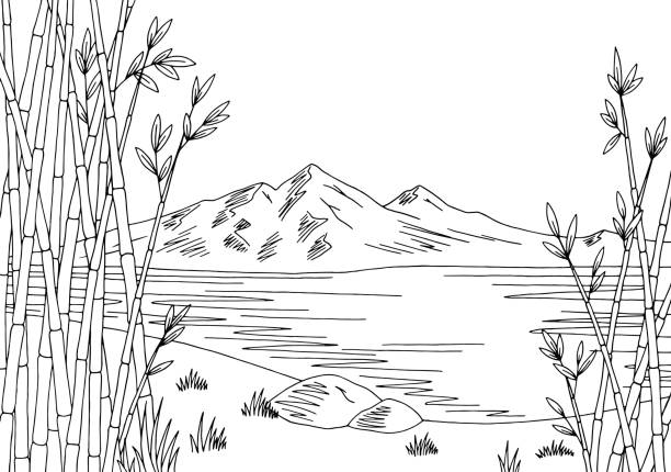Lake Black And White Clipart.