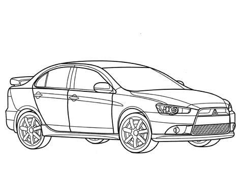 Mitsubishi Lancer Ralliart coloring page.