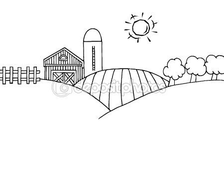 Outline Of Rolling Hills, A Farm And Silo On Farm Land.