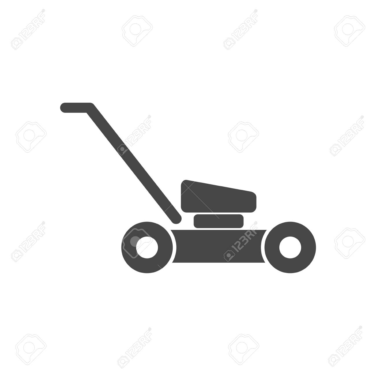 Lawn mower in black silhouette isolated vector illustration.