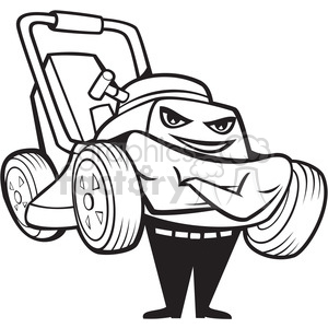 black and white happy lawnmower smiling front clipart. Royalty.