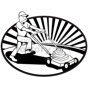 black and white mower mowing lawn side clipart. Royalty.