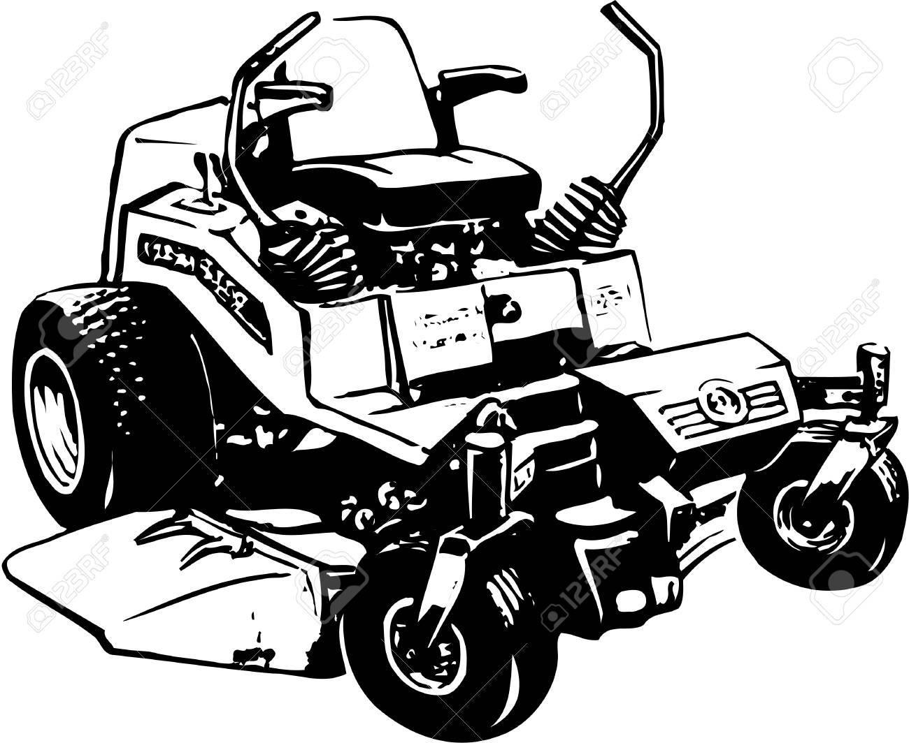 Lawn mower illustration on white background..
