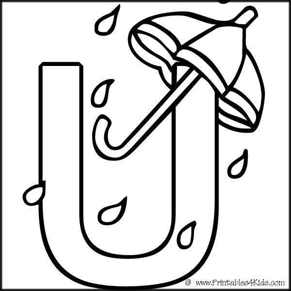 black and white letter u words clipart #5