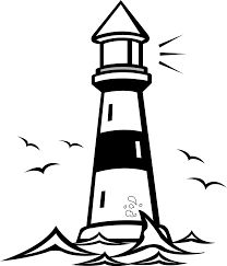 lighthouse clipart black and white.