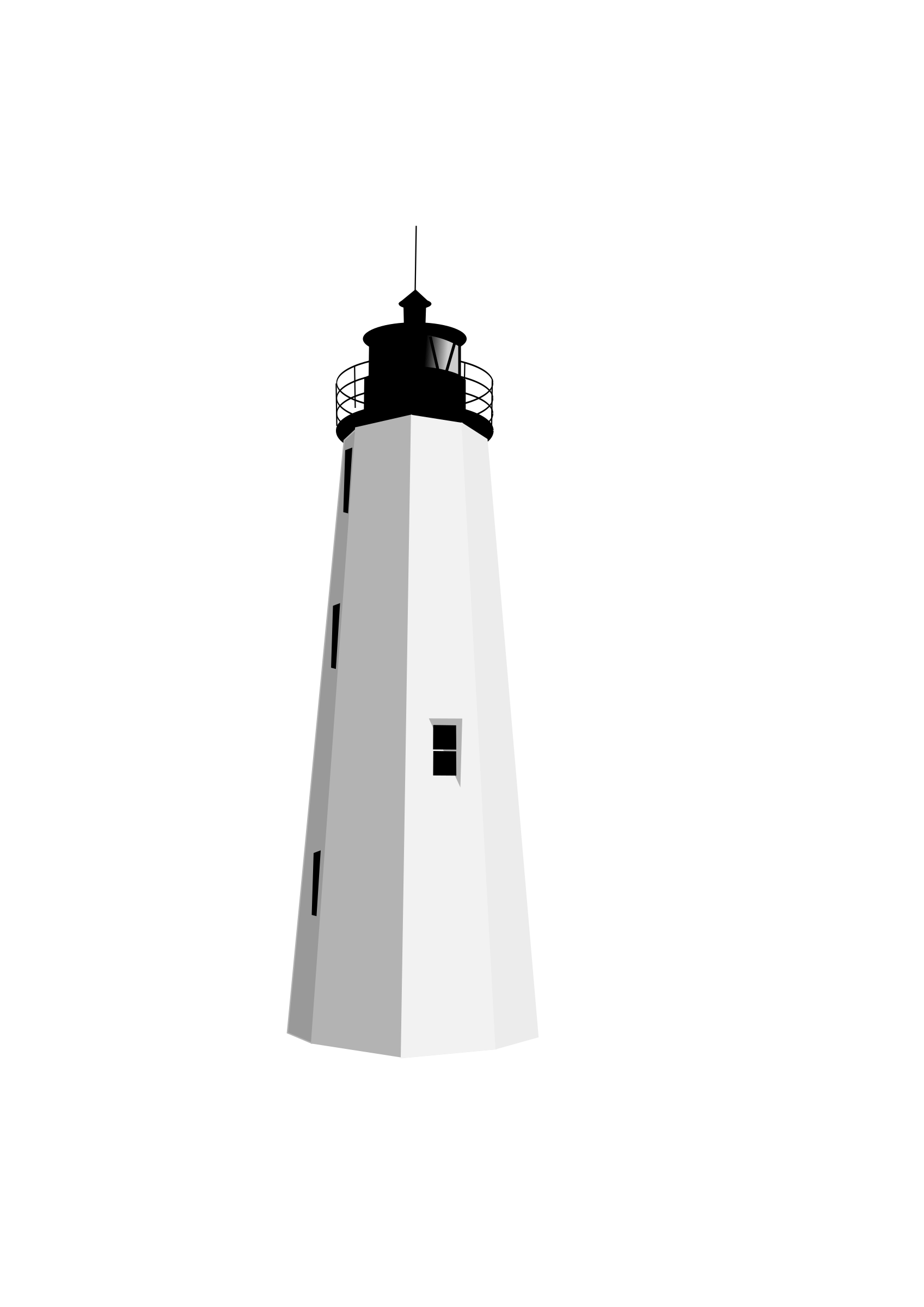 Black White Lighthouse Clipart transparent PNG.