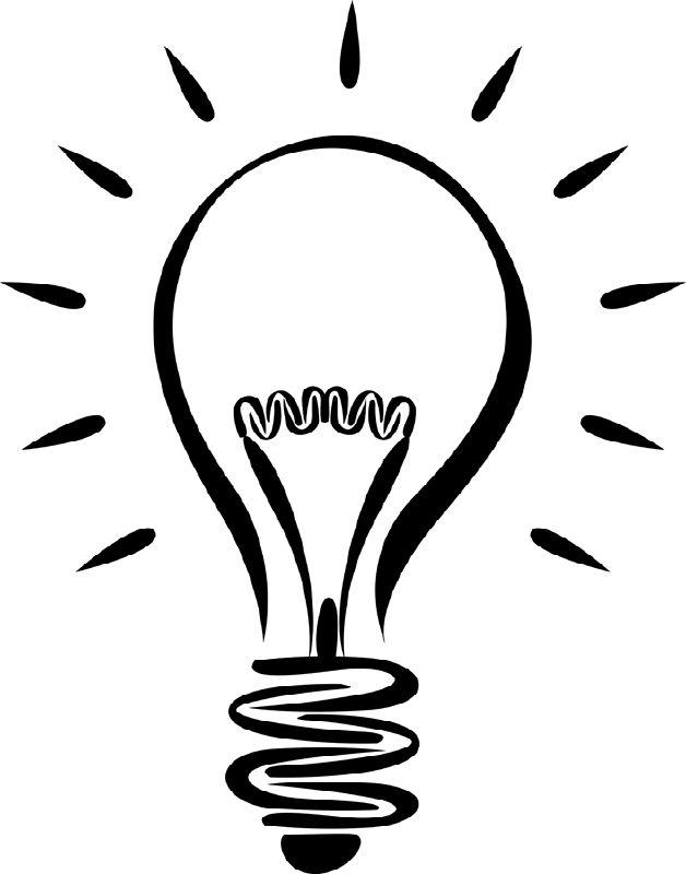 Clipart Black And White Light Bulb.