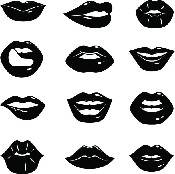 Best Black And White Lips Illustrations, Royalty.