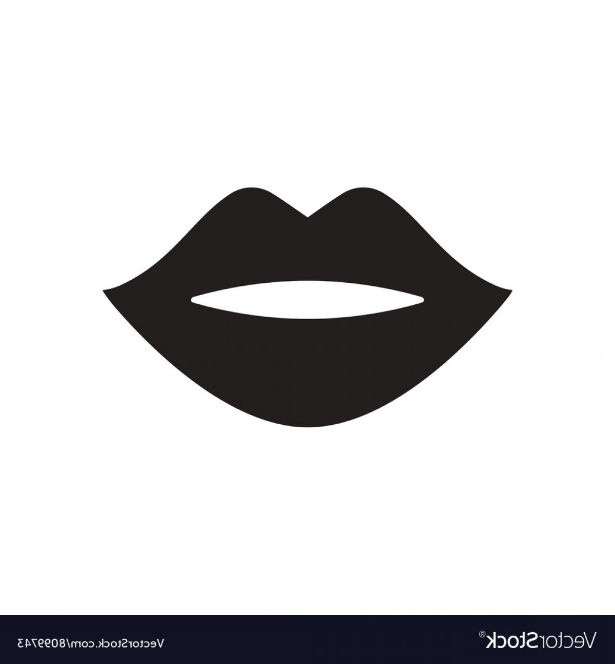 Flat Icon In Black And White Lips Vector.