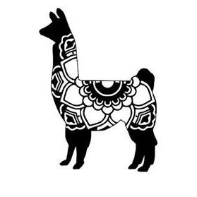 black and white llama clipart.