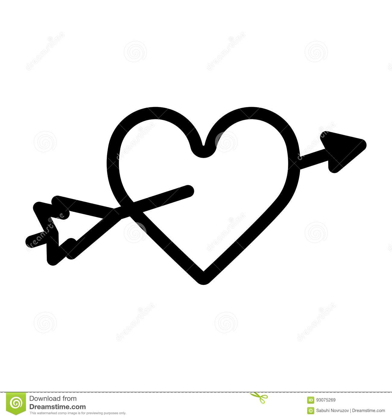 Heart With An Arrow Vector Icon. Black And White Love Illustration.