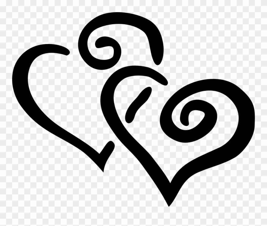 Hearts Design Swirl Black Love Png Image.
