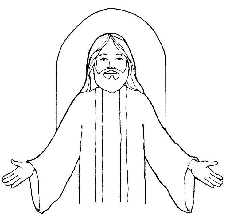 Black White Clipart Of Jesus.
