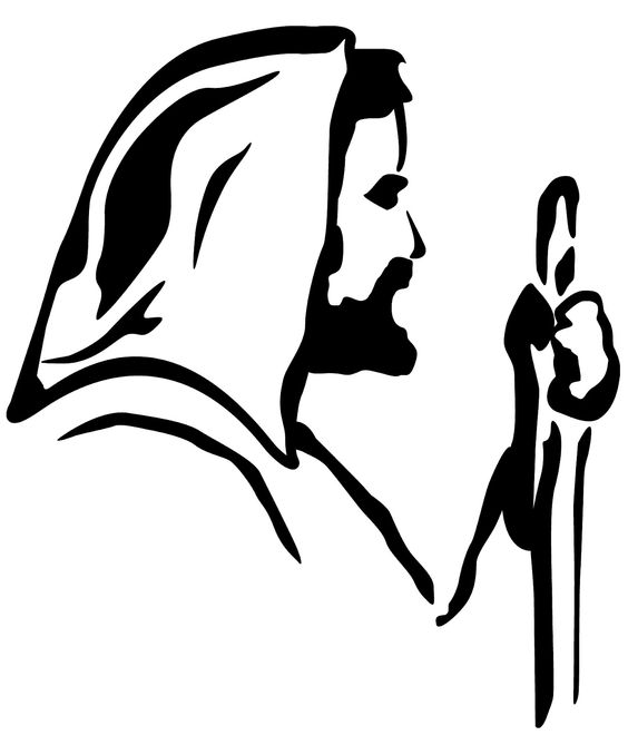Black And White Lutheran Portrait Of Jesus Clipart.