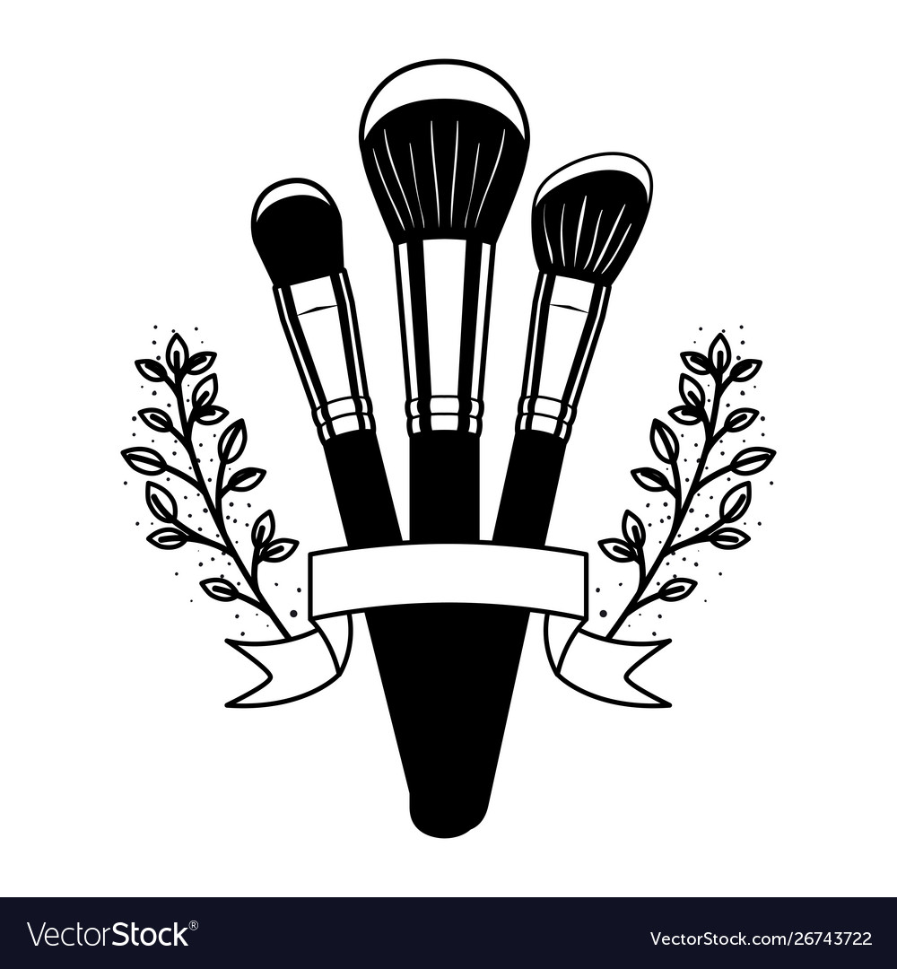 Makeup brushes on white background.