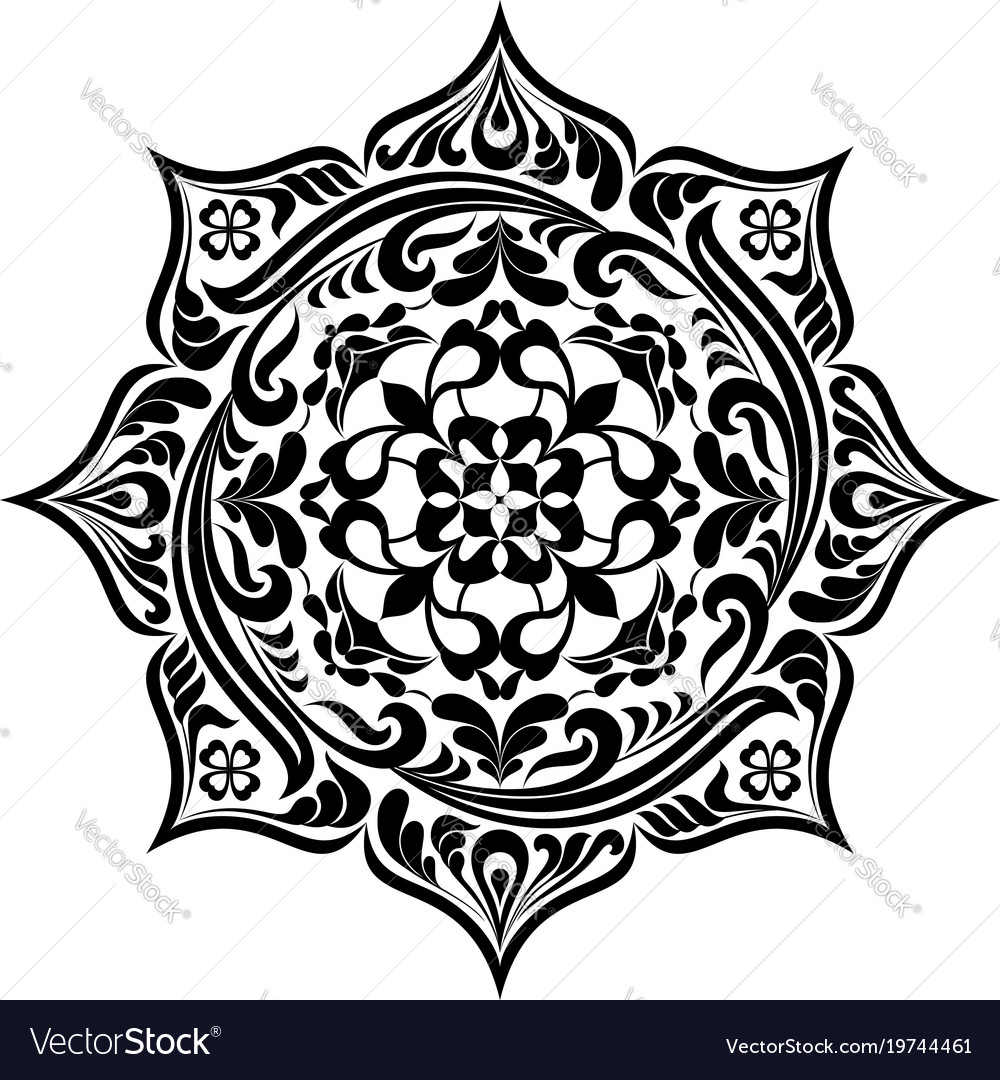 Round floral tattoo mandala in black and white 1.
