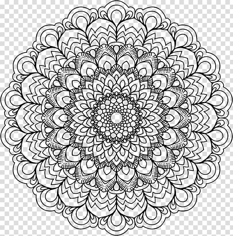 Black mandala illustration, Mandala Drawing Coloring book.