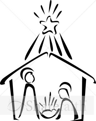 Nativity in Black and White with Bright Star.