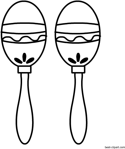 Free Black And White Maracas Clip Art.