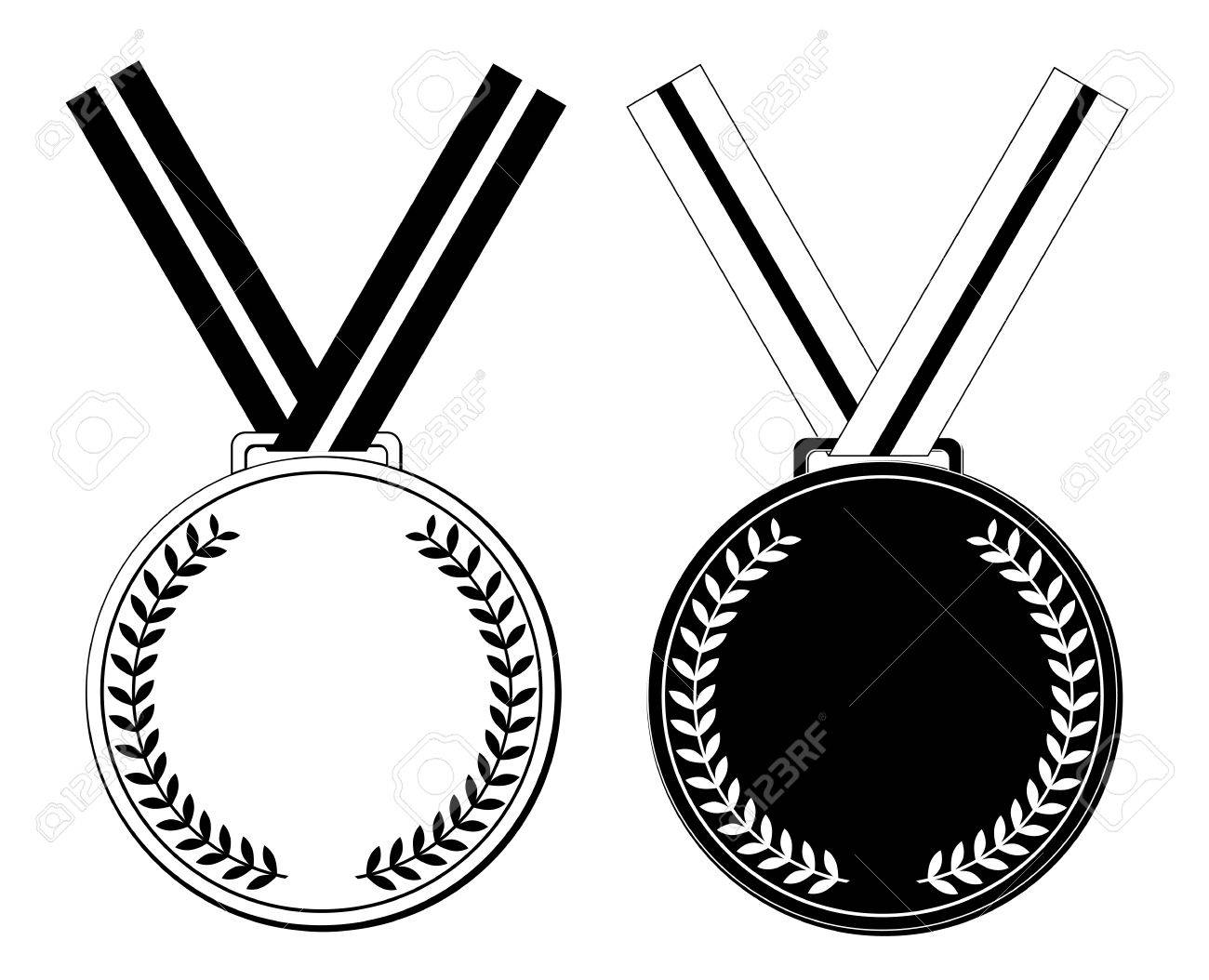 Clipart Black And White Medal.