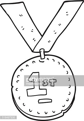 black and white cartoon first place medal Clipart Image.