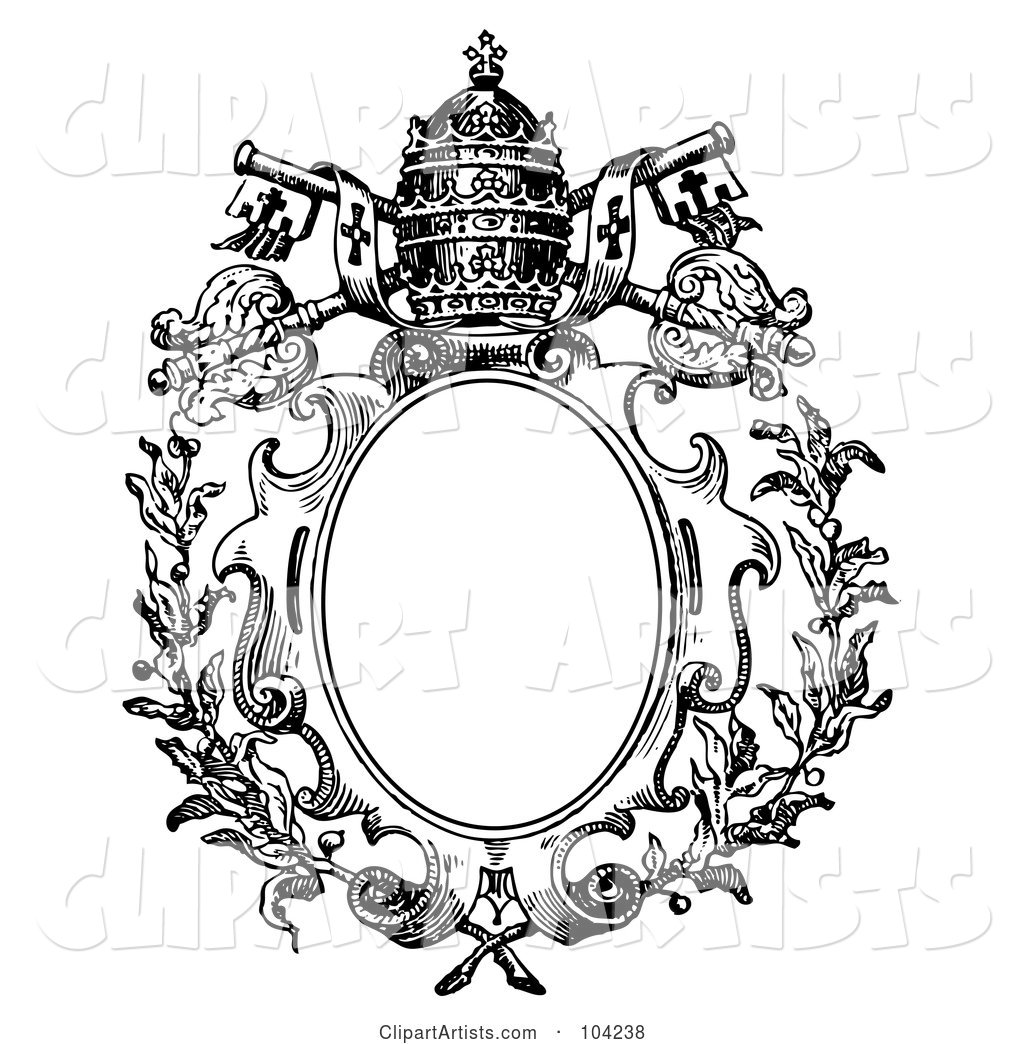 Black And White Medieval Crest Design With A Crown And Keys.