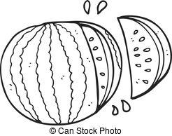 Freehand drawn black and white cartoon melon slice..