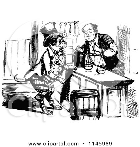 Clipart of a Vintage Black and White Merchant and Shopping.