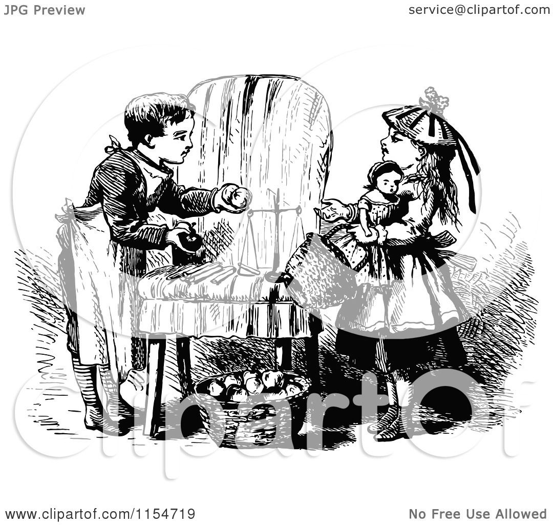 Clipart of Retro Vintage Black and White Children Playing.