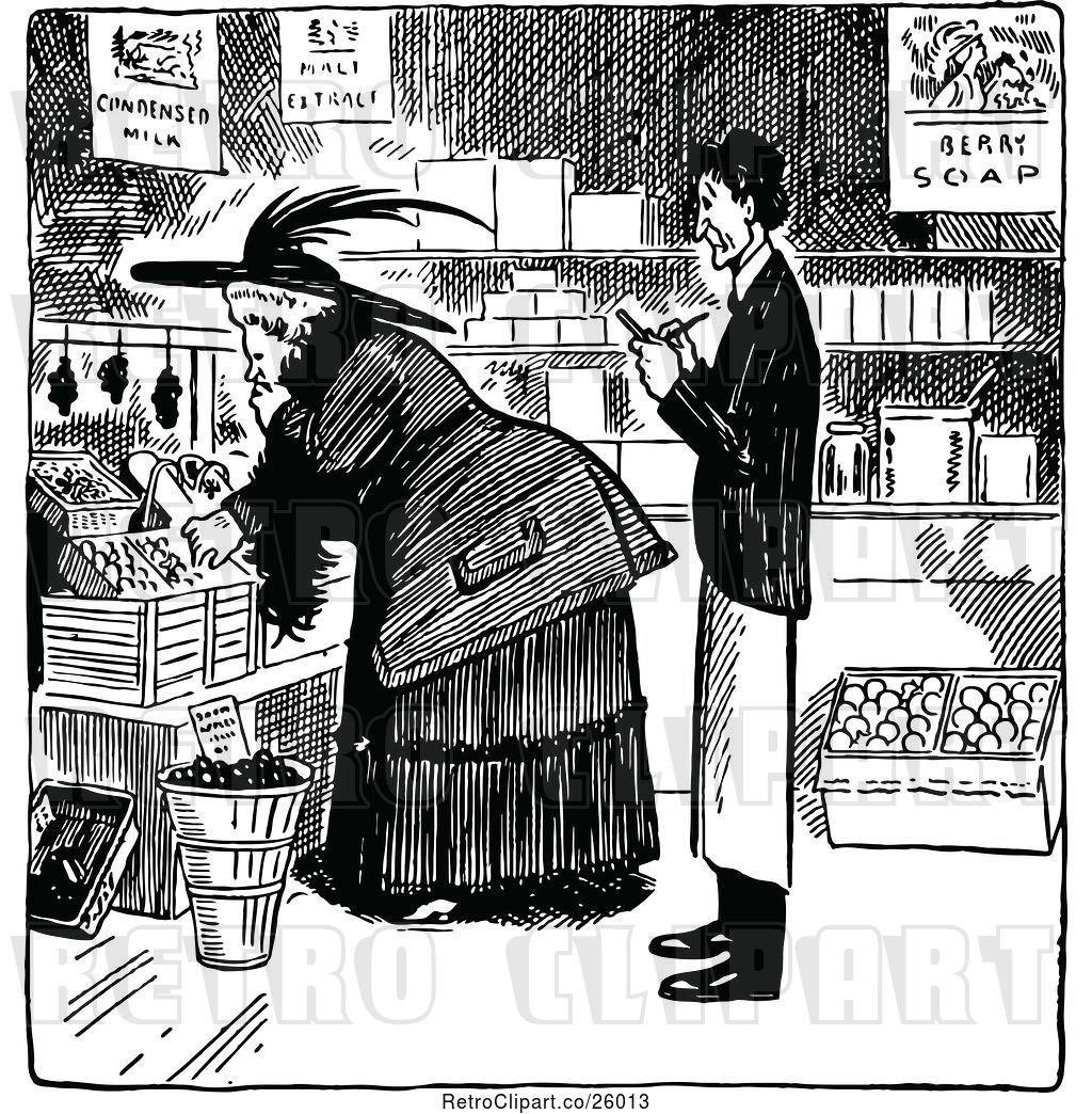 Vector Clip Art of Merchant and Shopping Lady by Prawny.