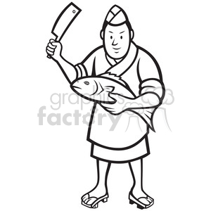 black and white japanese sushi chef fish knife clipart. Royalty.