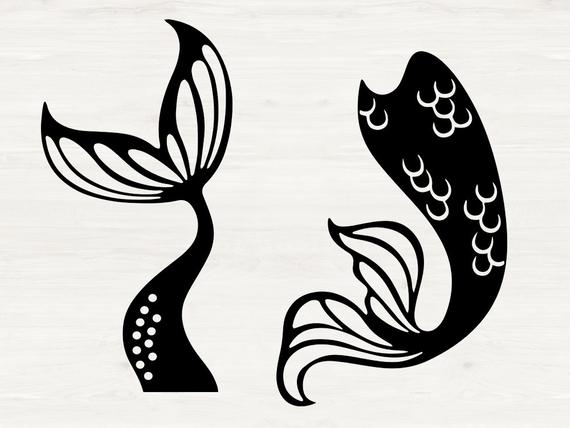 Mermaid Svg, Mermaid tails svg, eps, dxf, png cutfiles for.