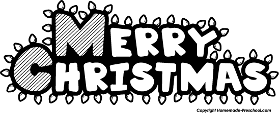 Merry Christmas Clip Art Black and White.