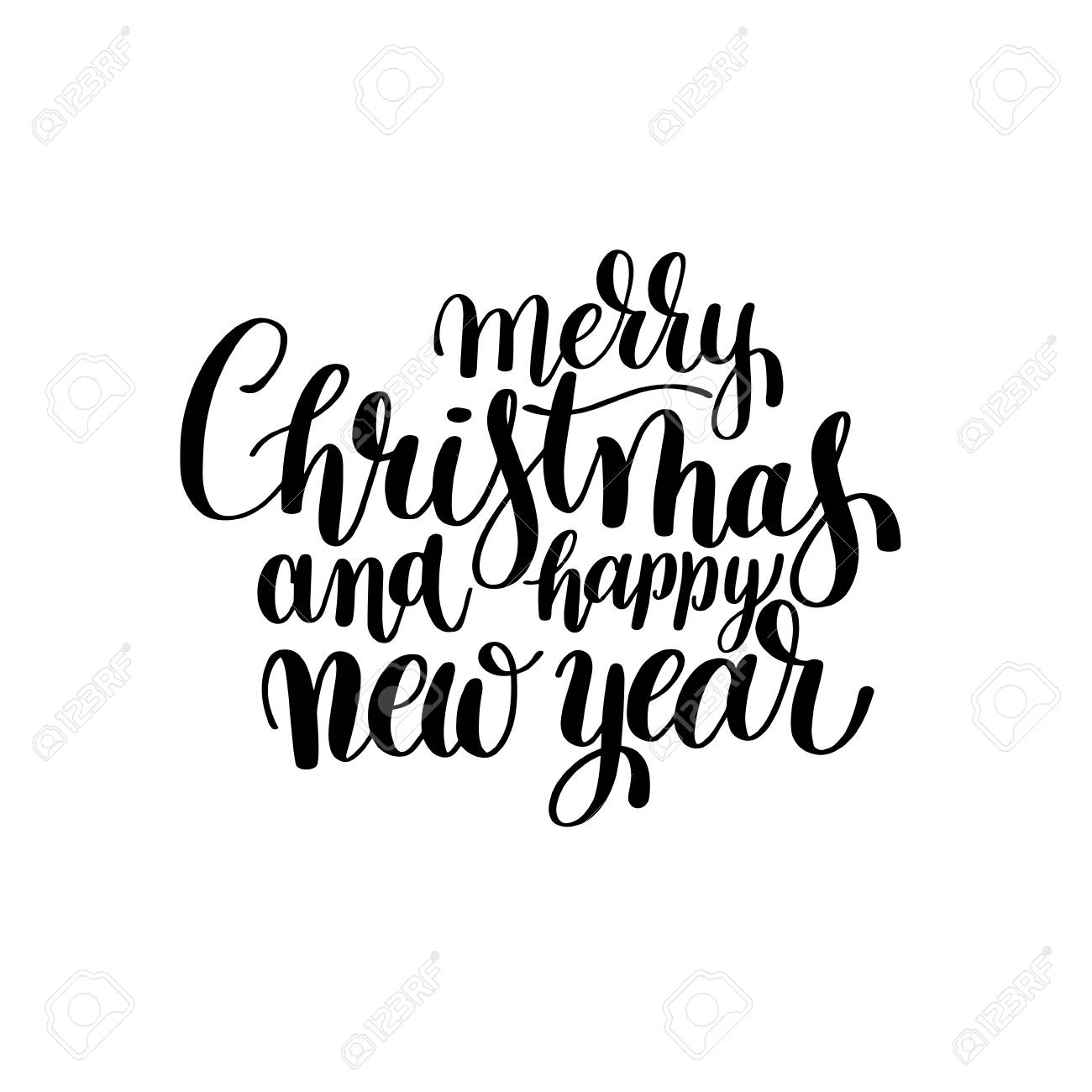 black and white Merry Christmas and Happy New Year calligraphic...