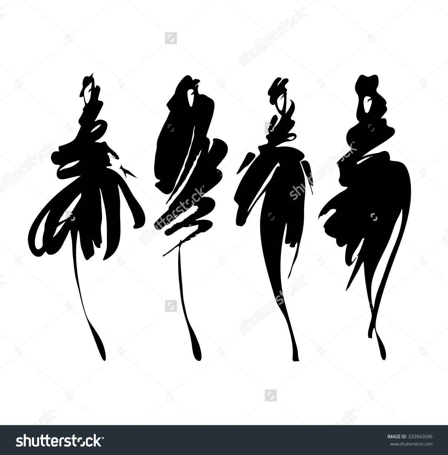 Fashion Model Silhouette Clip Art.