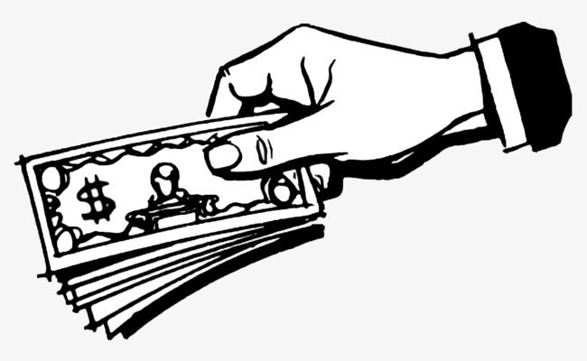 Black And White Sketch The Hands Of Money.