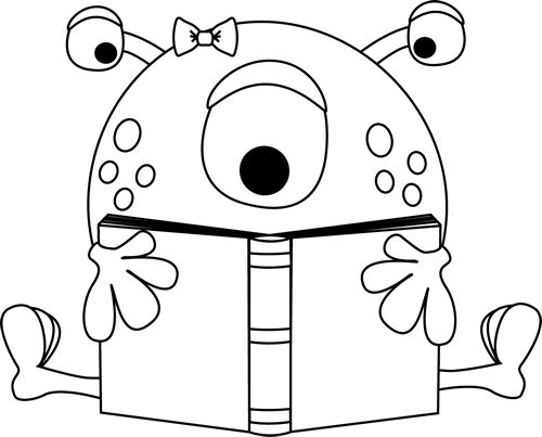 Classic monster clipart black and white.