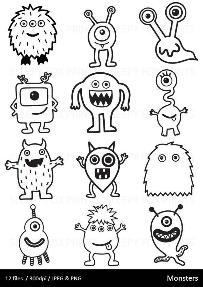 Monsters Clipart, Black and White, Monster Clip Art, Halloween,  Boys,Monster,Cute, Hand Drawn, 3for2, Cute Monsters,Monster Party,.