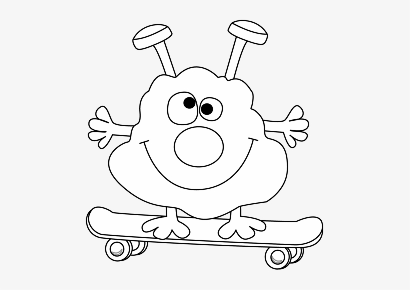 Black And White Monster On A Skateboard.