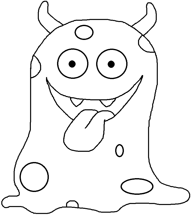 monster clipart black and white.