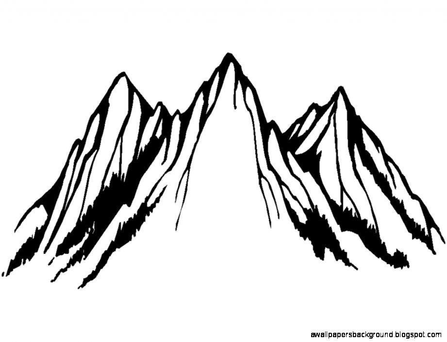 Black And White Mountain Drawing at GetDrawings.com.
