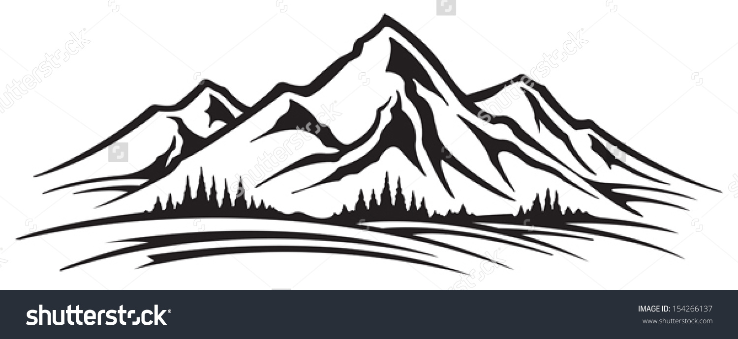 Mountain Landform Clipart Black And White.
