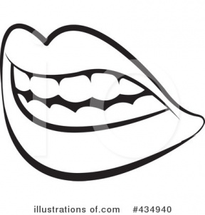 Black And White Mouth Open Singing Clipart.
