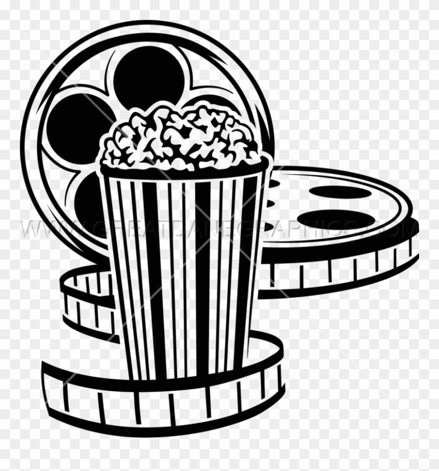 Movie Reel And Popcorn Png.
